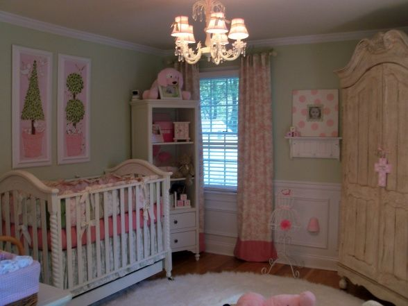 pink and green toile nursery | Baby! | Pink, green nursery ...