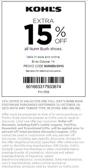 Kohls Printable Coupons Extra 15 Off All Nunn Bush Shoes Valid In Store And Online See Pass For Details And E Kohls Coupons Kohls Printable Coupons Coding
