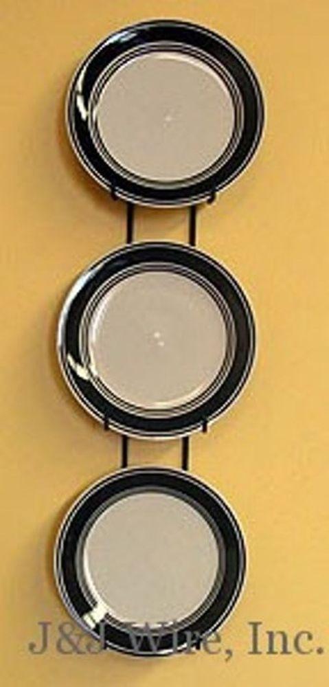 3 plate vertical wall display hanger holder for 6\ -8\  plates black metal & 3 plate vertical wall display hanger holder for 6\