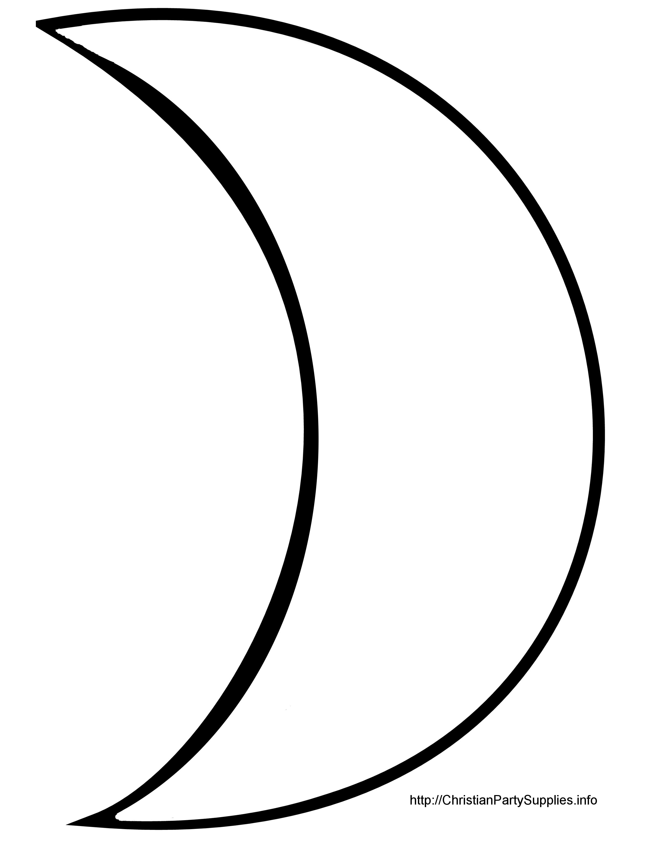 Template Crescent Moon Moon Coloring Pages Moon Silhouette