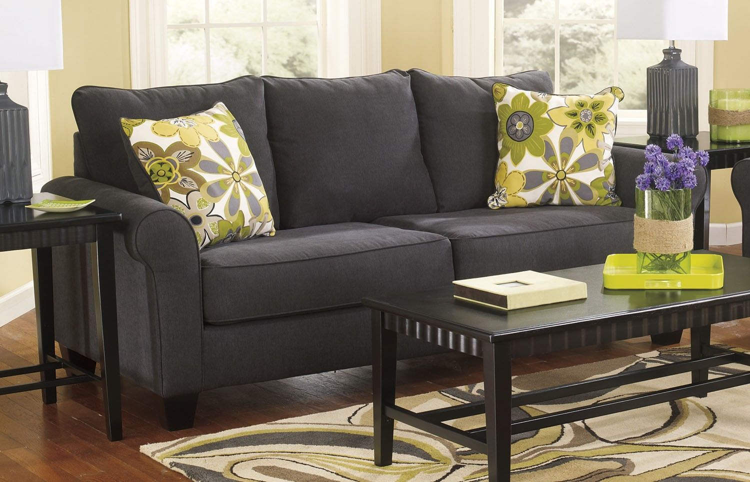 discontinued ashley sofa tables cushion covers target nolana charcoal plush modern marjen of