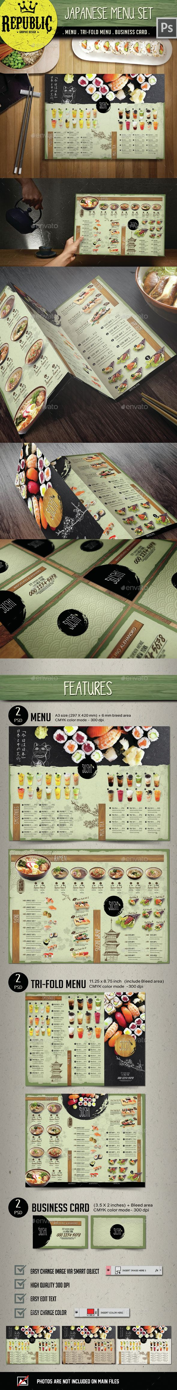 Japanese Menu Set — Photoshop PSD #rolls #menu template • Available here → https://graphicriver.net/item/japanese-menu-set/15149726?ref=pxcr