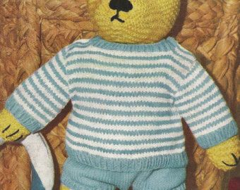 Teddy Bear clothes knitting pattern DOWNLOAD Make ...