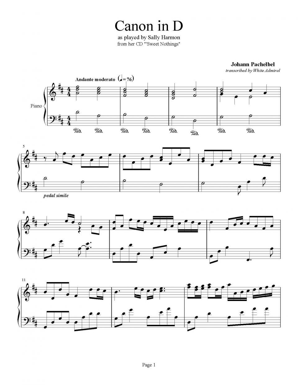 Canon In D Johann Pachelbel Catalog Our Complete Sheet Music