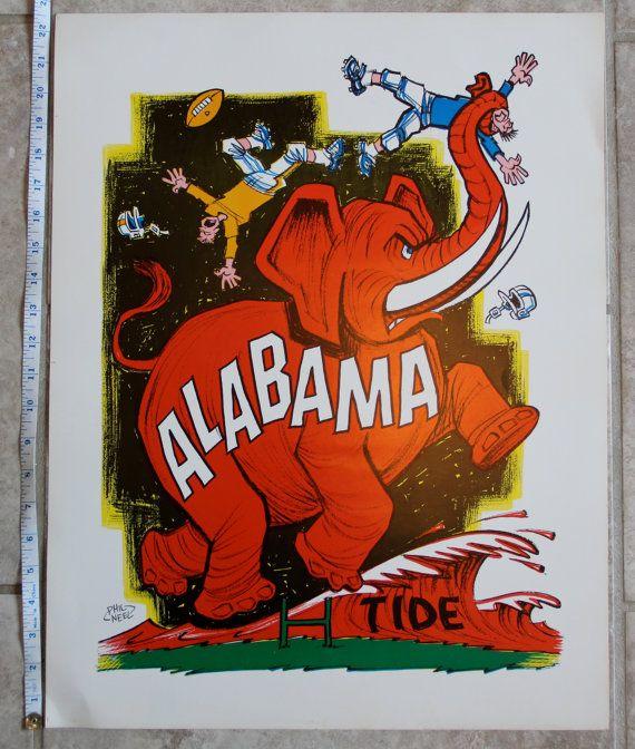 vintage alabama crimson tide posters eBay