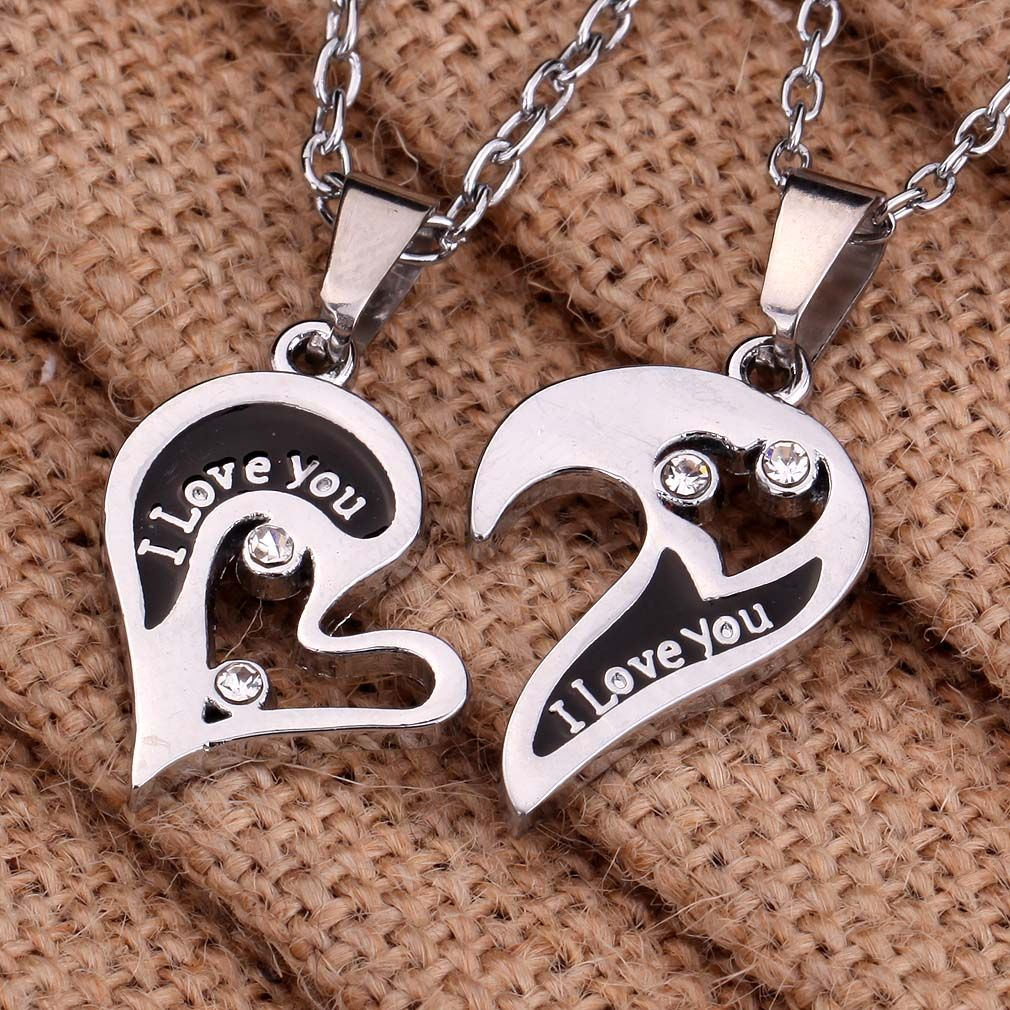 Details about Silver Tone Couple Heart Love Girlfriend Boyfriend ...
