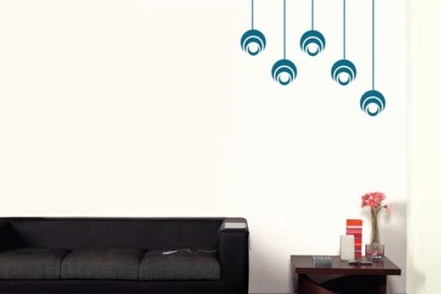 Living Room Circles Stencil In Turquoise Blue On Lighter Background
