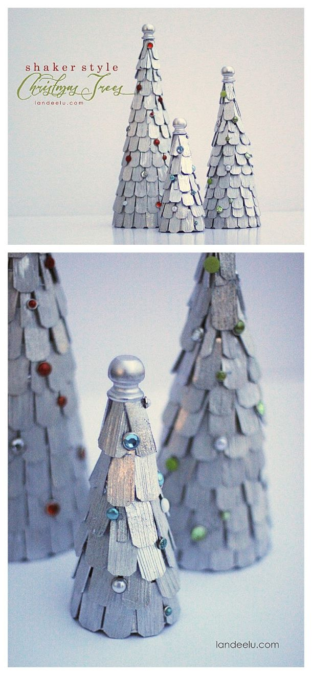 DIY Shaker Style Christmas Trees - Pretty Christmas Decorations!
