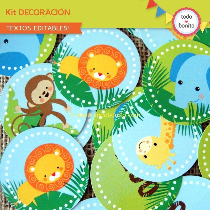 Selva: decoración de fiesta para imprimir   Fiesta infantil jungla ...