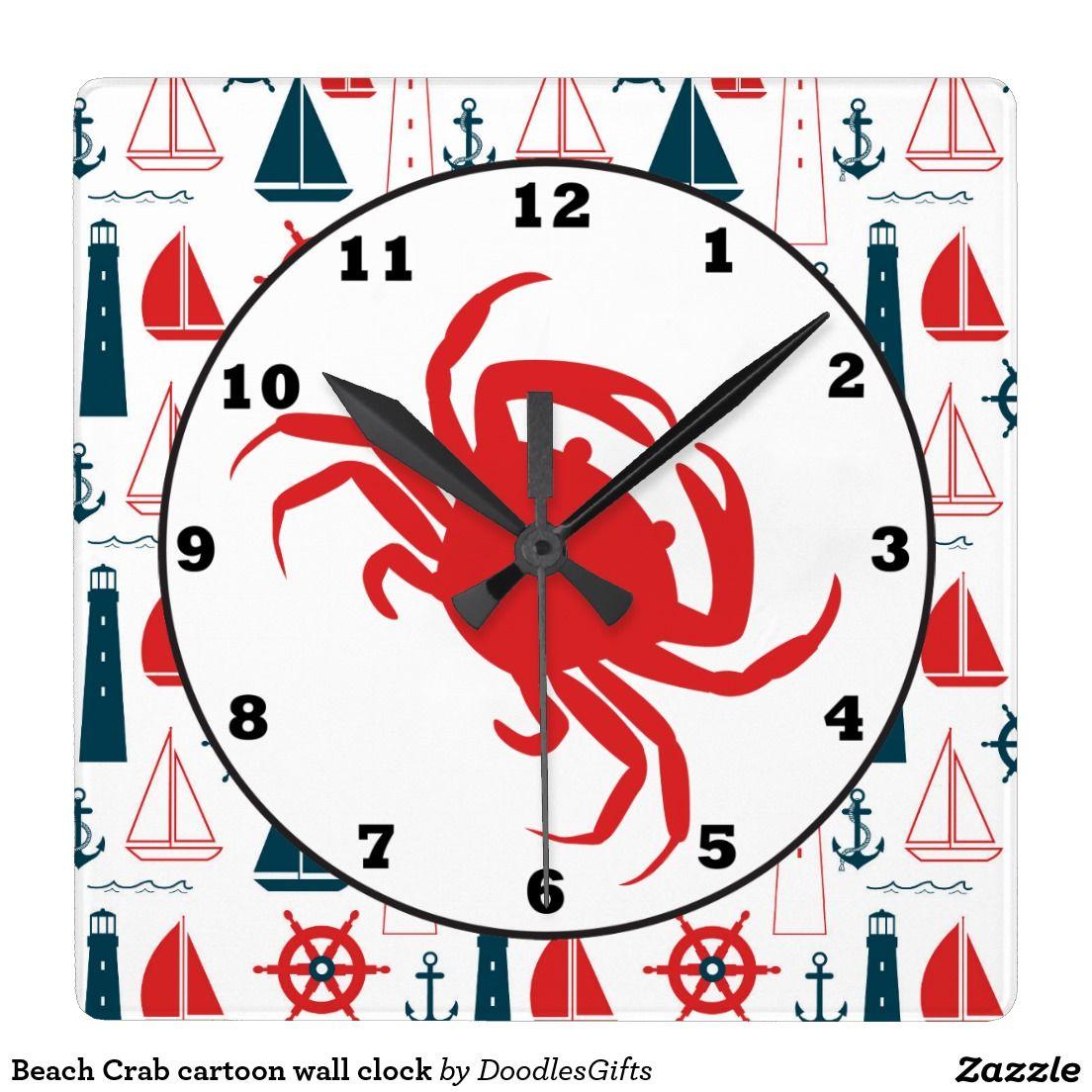 Cartoon wall clocks gallery home wall decoration ideas beach crab cartoon wall clock beach decor and gifts pinterest beach crab cartoon wall clock amipublicfo amipublicfo Gallery