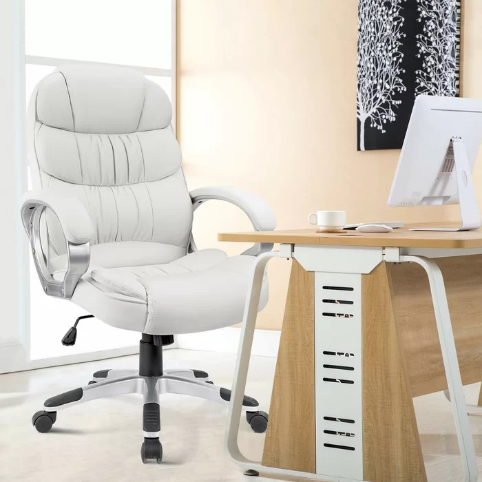 Enosburg High Back Executive Chair In 2020 White Leather Office