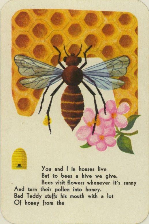 Vintage Swap Game Card: Bee. Piatnik & Wien. Made In Austria.