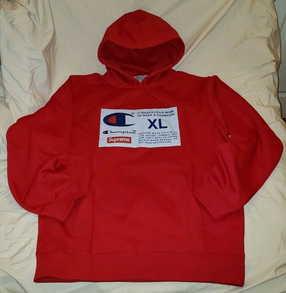 28d72a1aad25 Supreme Champion Label Hooded Sweatshirt Red XL FW18 IN HAND #Champion # Hoodie