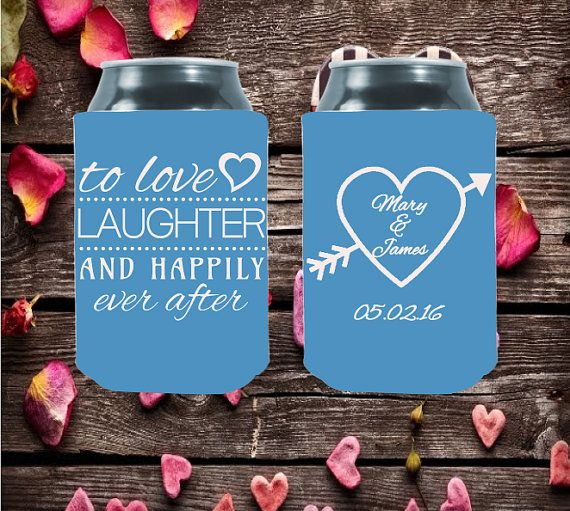 Wedding Can Coolers  To Love Laughter and Happily by moonbeamsnpie