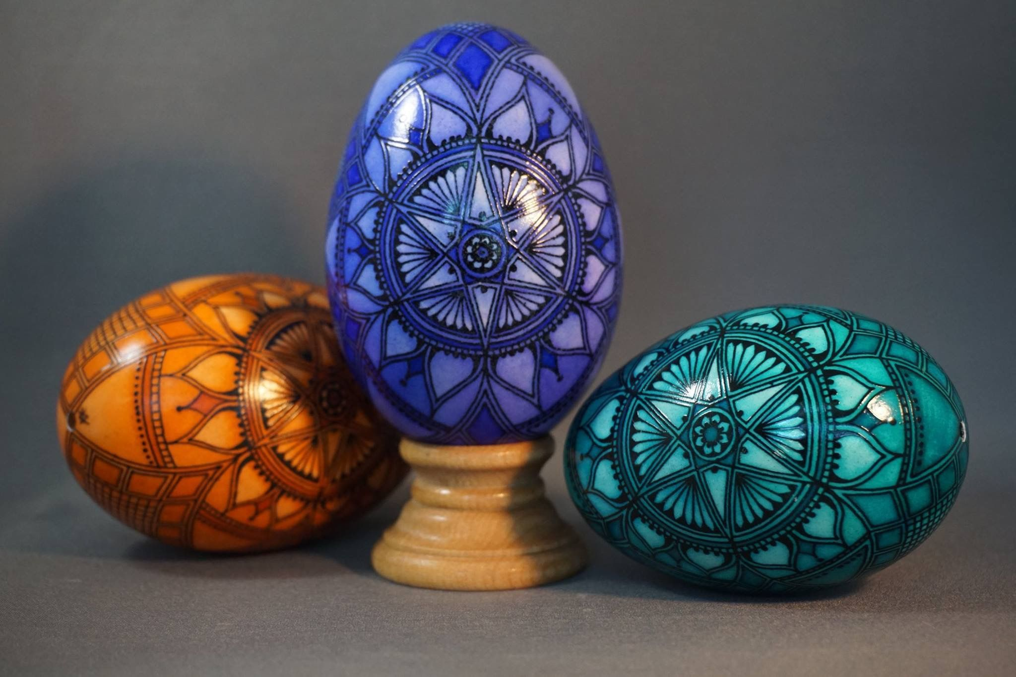 Trio of monochromatic batik goose eggs - (salmon, purple and turquoise ) Pisanki , pysanky