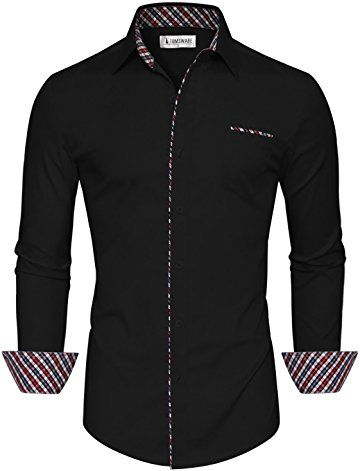 Tom 39 s ware mens classic slim fit contrast inner long for Tom s ware mens premium casual inner contrast dress shirt