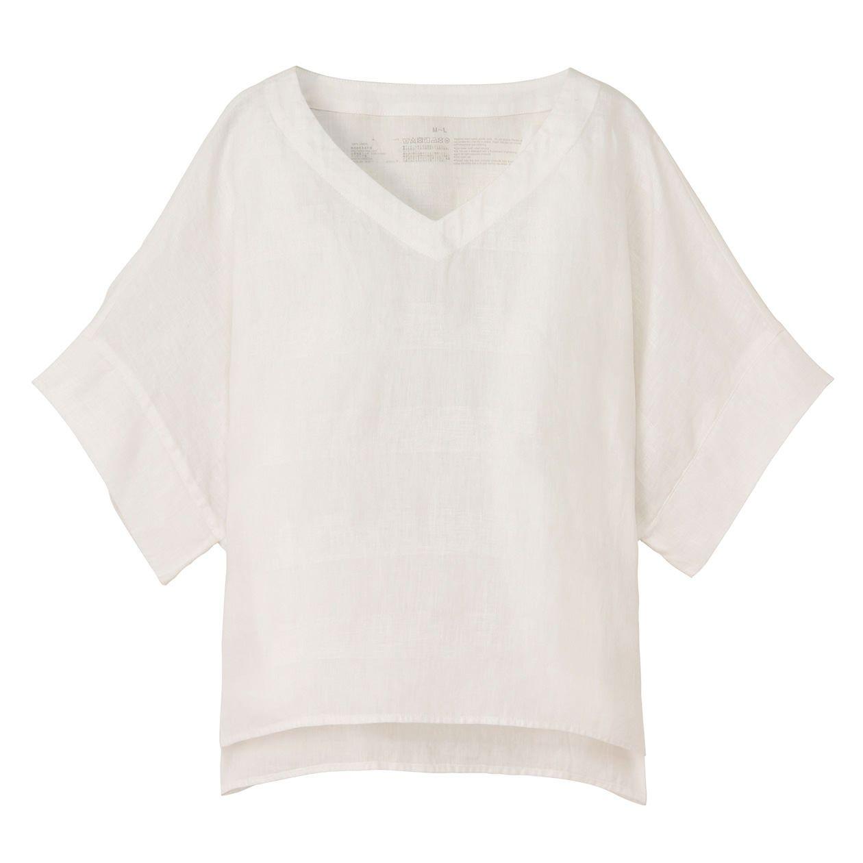 フレンチリネン洗いざらしワイドVネック半袖ブラウス 婦人・M~L・白 |