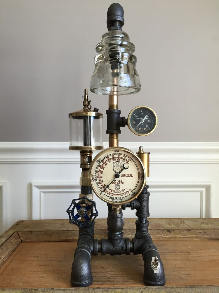 Steampunk Lamp Vintage Oiler Brass Gauges Industrial
