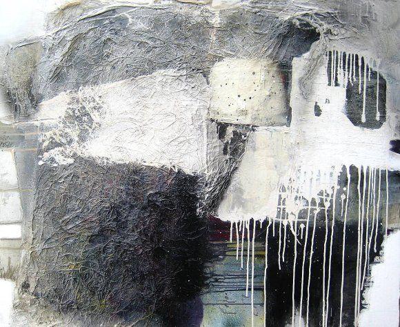 schwarz weiss acryl collage mit japanpapier acrylmalerei abstrakt modern abstrakte kunst