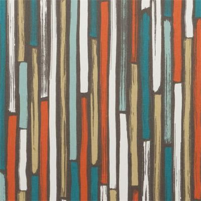 Teal orange upholstery fabric dark teal geometric cotton - Modern fabrics for curtains ...