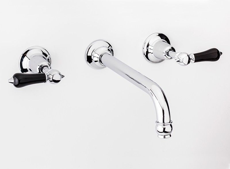 La Fontaine Noire Wall Mounted Three Hole Basin Tap with Swan Neck ...
