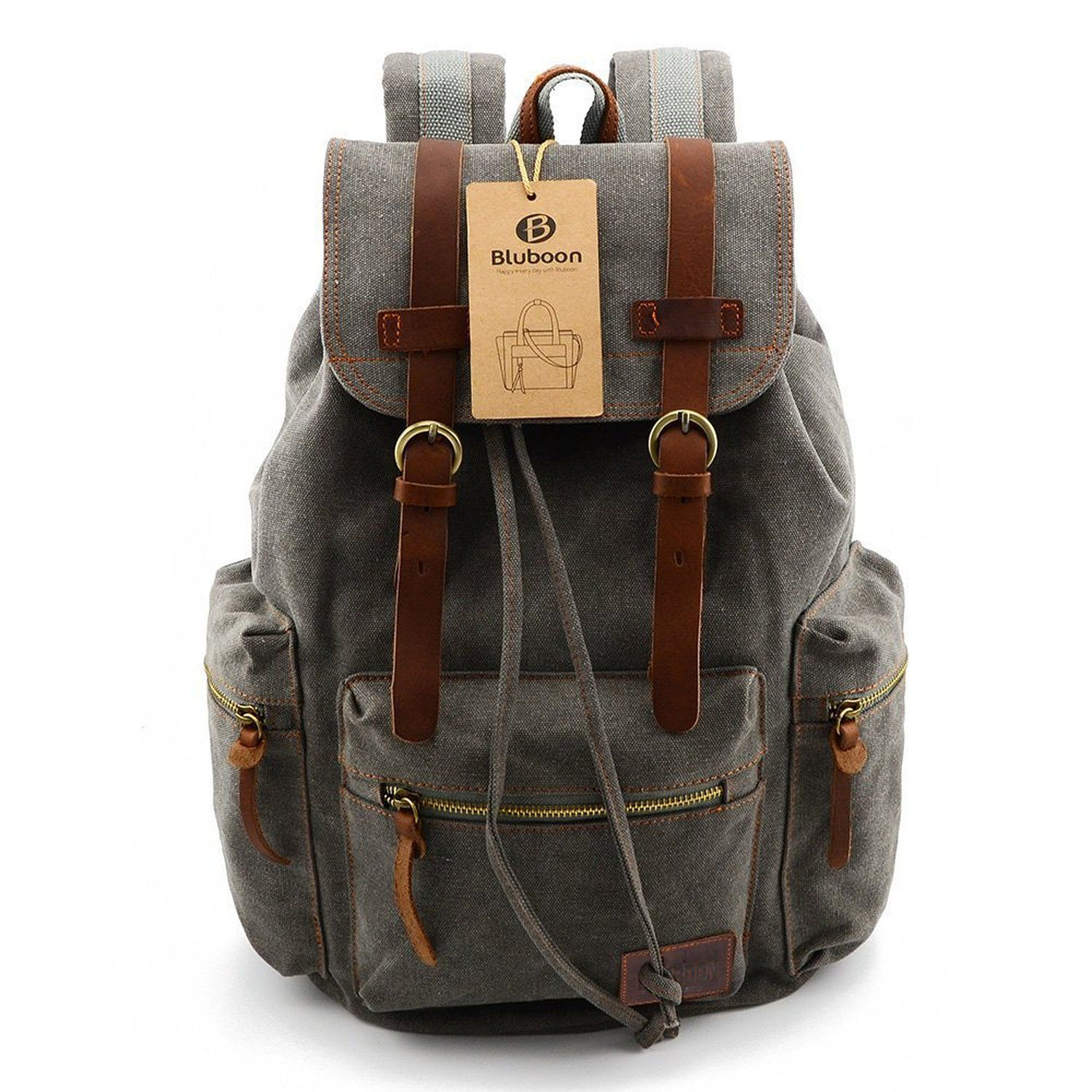 443799e2bbe0 Canvas Vintage Backpack Men Rucksack Bookbag Leather