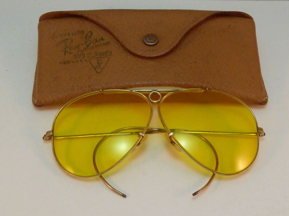 Vintage Ray Ban Aviator Shooter Sunglasses Kalichrome Gold