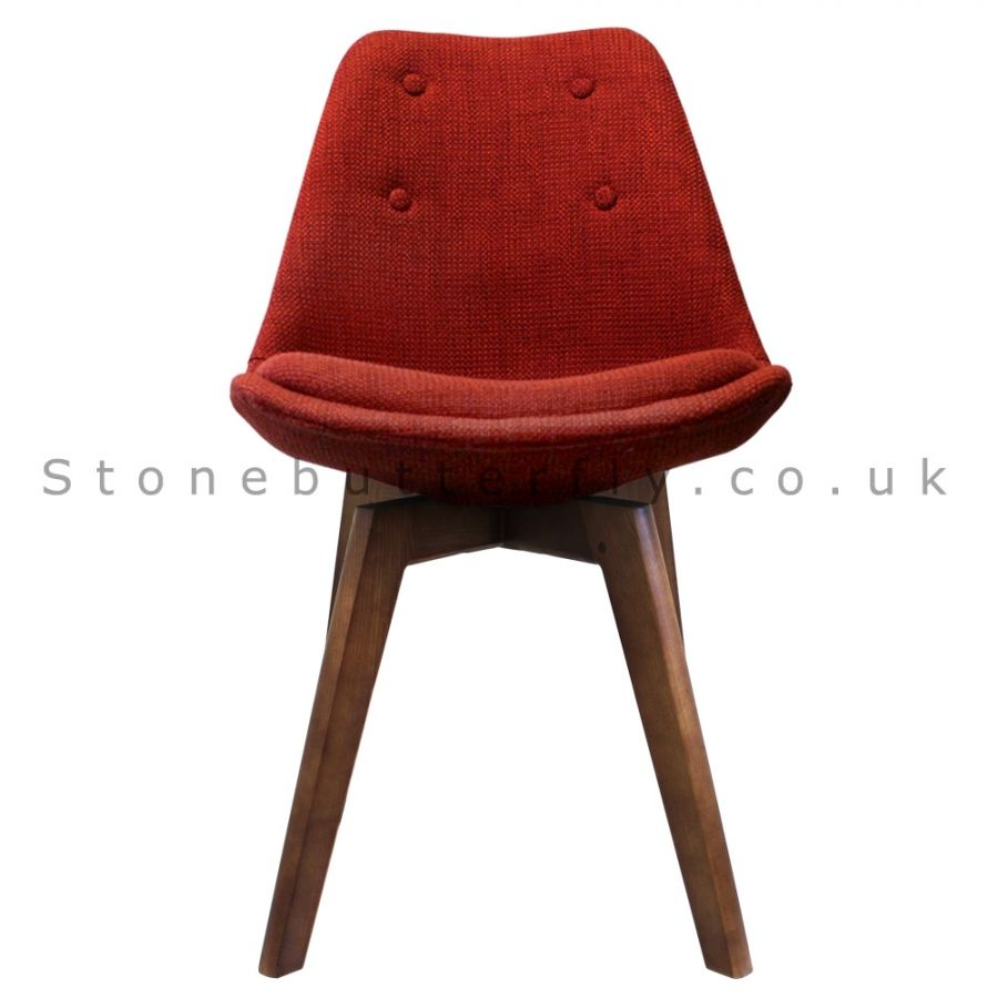 Charles Ray Eames Inspired I DSW Chair Walnut Stained Squared Legs   Red  Fabric,