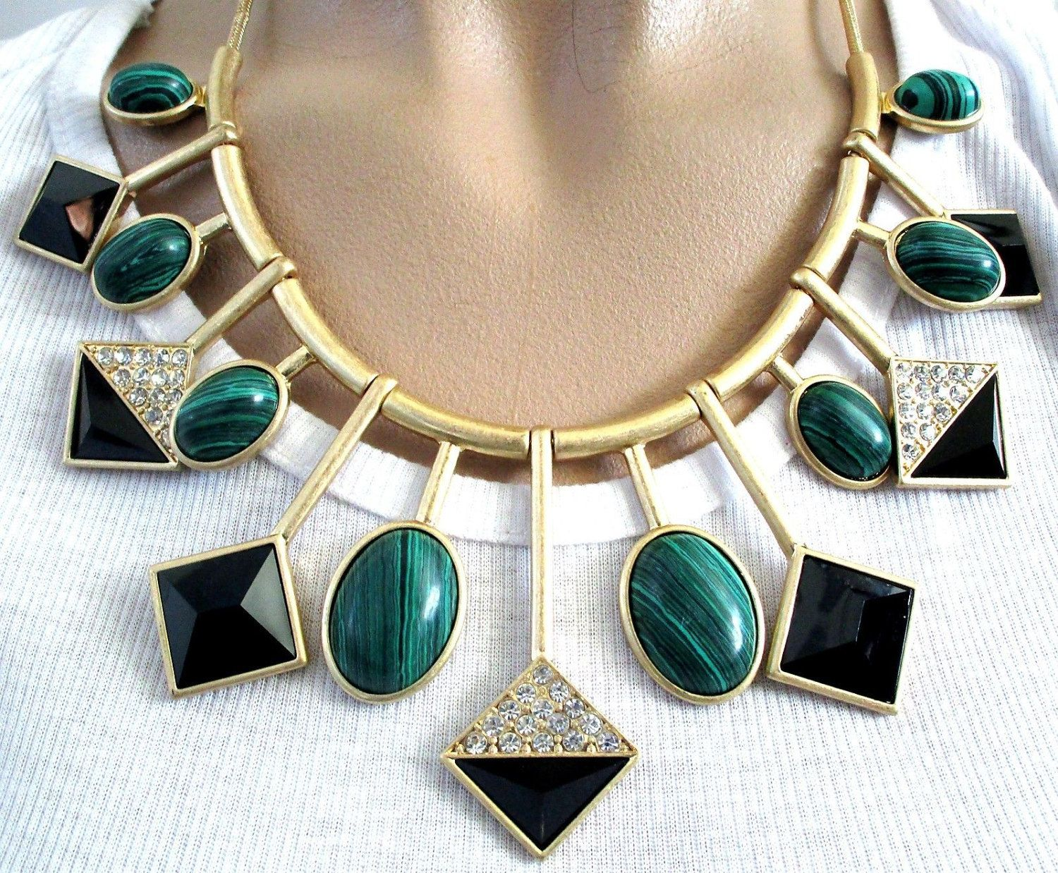 Stunning Heavy Malachite Sparkling Ice Crystal Runway Necklace
