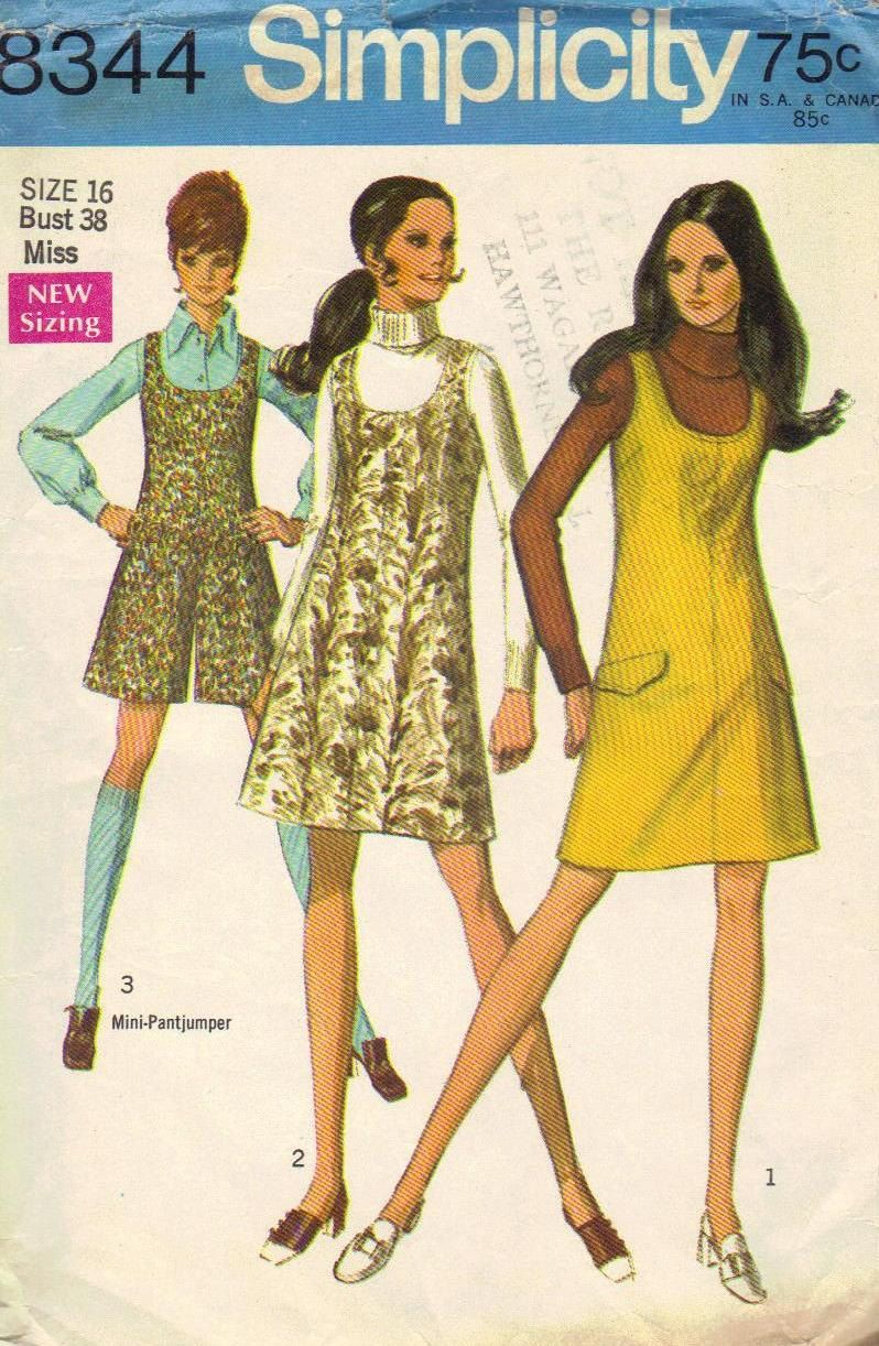 Retro Jumper Dress Plus Size Simplicity Sewing Pattern 1960s Mod A ...