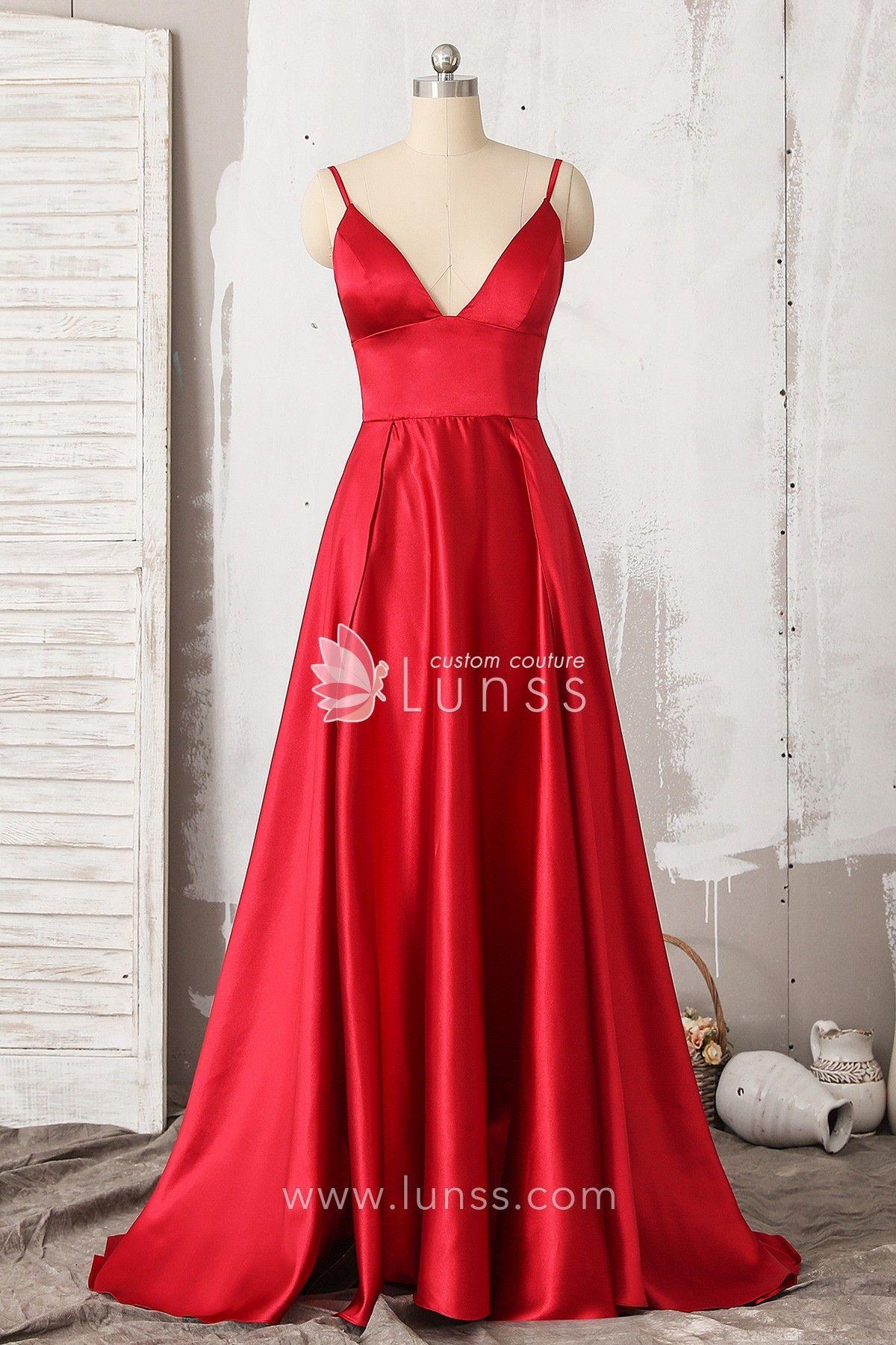 Wine glossy spaghetti strap satin long prom homecoming dress
