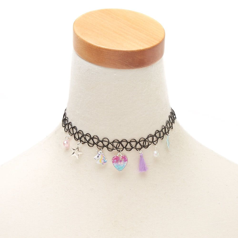 Claire/'s Girl/'s Butterfly Charm Tattoo Choker Necklace Black//Pink