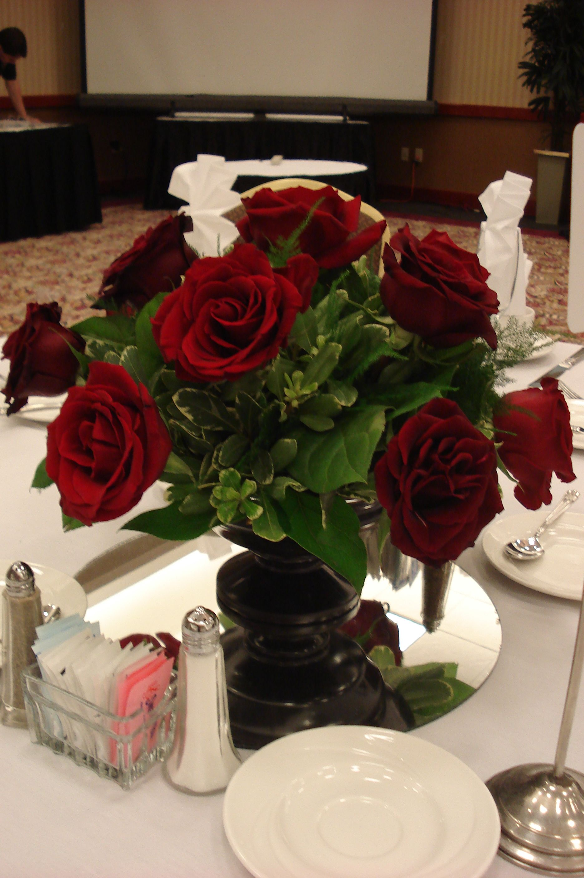 Simple Red Rose Centerpiece