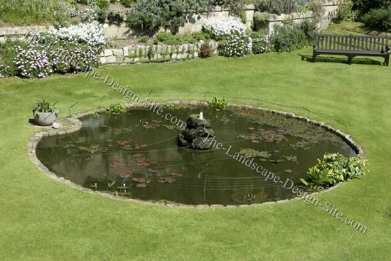 Round Backyard Pond With Edging For Grass Area Fish Pond