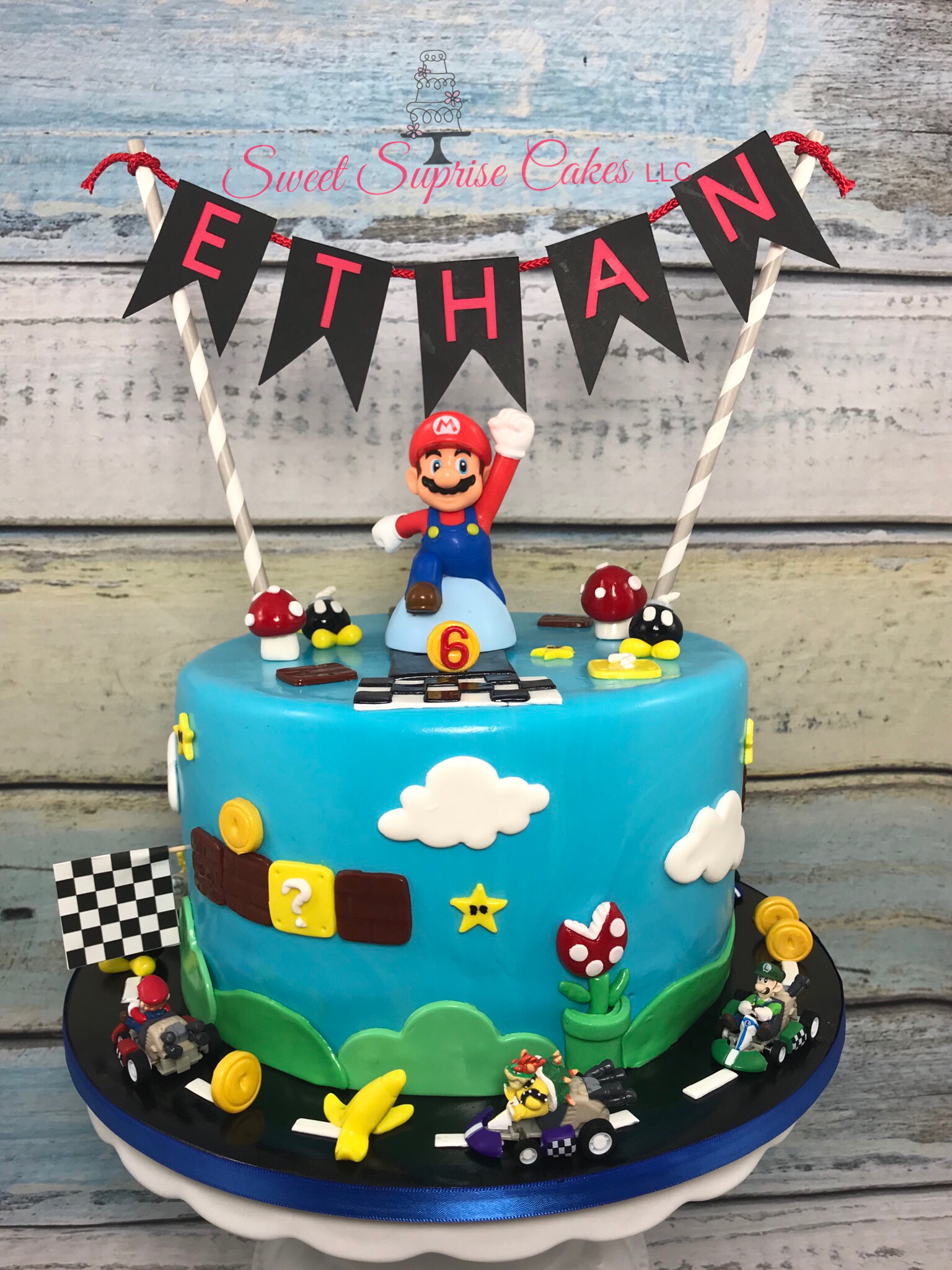 Fantastic Mario Kart 6Th Birthday Cake Nintendo Super Mario Mario Nintendo Personalised Birthday Cards Sponlily Jamesorg