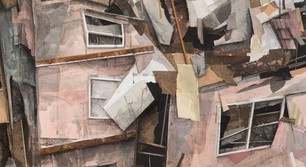 """SETH CLARK: Collapse XXII (detail) 48"""" x 72"""" Collage, Charcoal, Pastel, Acrylic, Graphite on Wood"""