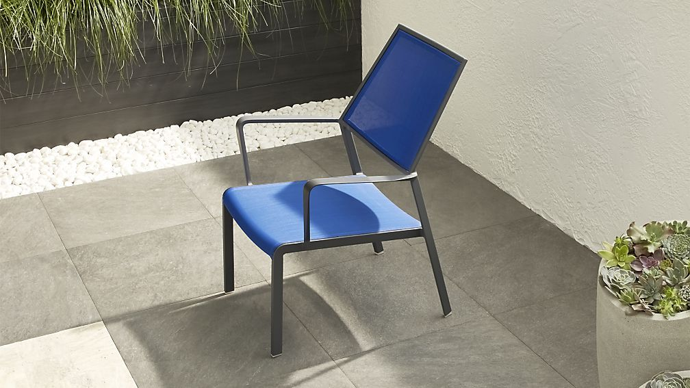 Largo Mediterranean Blue Mesh Lounge Chair Crate And Barrel Patio Lounge Furniture Metal Outdoor Furniture Lounge Chair Outdoor