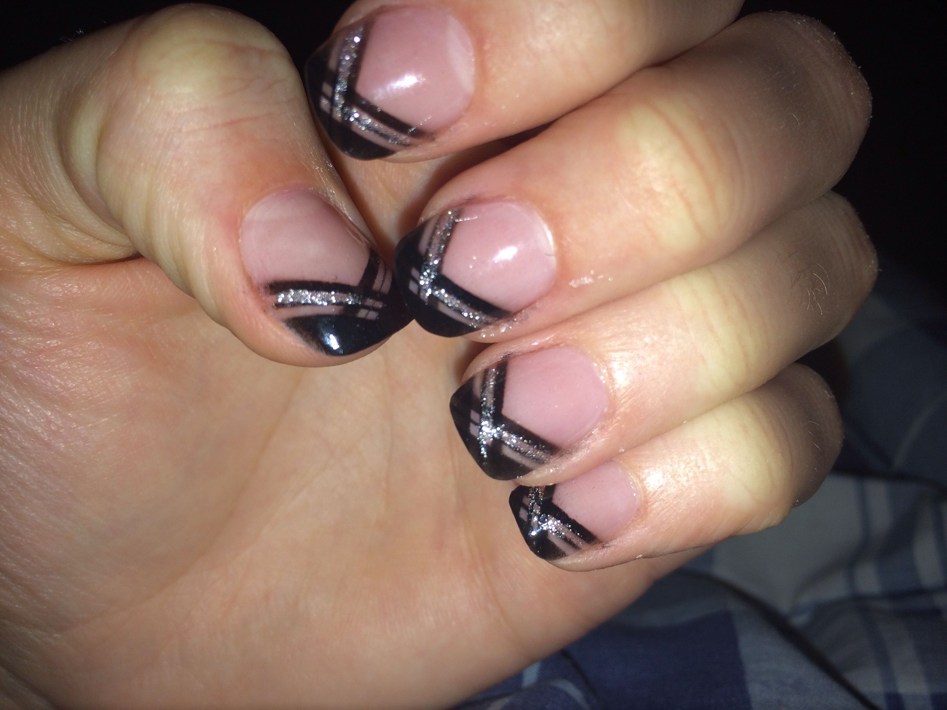 Black Sparkly French Tip Acrylic Nails French Tip Nail Designs