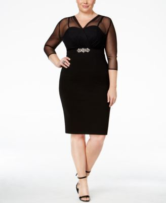 a317ae20f8486 Alex Evenings Plus Size Illusion Embellished Sheath Dress - Dresses - Women  - Macy s