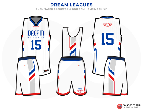 Dream League White Blue And Red Basketball Uniforms Jersey And Shorts Basketball Uniforms Design Basketball Uniforms Basketball Design