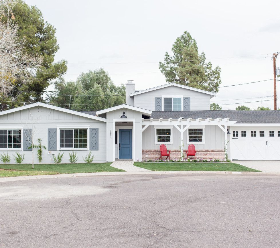 Add a pitched gable to a 70 39 s style ranch house to add for 70s exterior remodel
