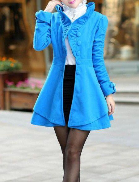Blue Wool OL Style Open Collar Long Sleeve Jacket & Coat #ShopSimple