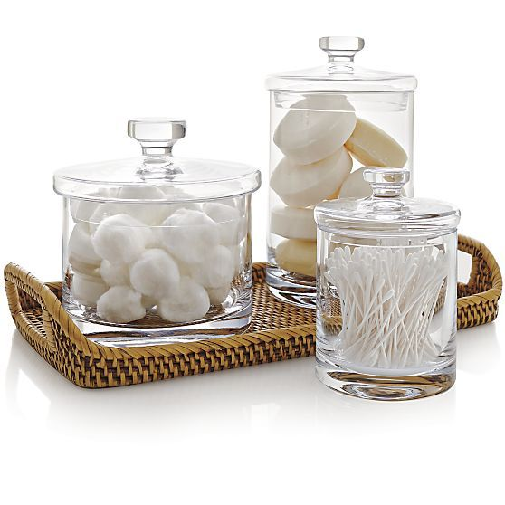 Bathroom Canister Small Glass Canister  Glass Canisters Bath Accessories And Crates