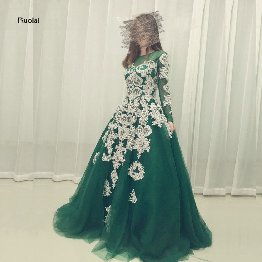 Elegant Silver Lace Embroidery Green Tulle Long Sleeves Ball Gown Zipper  Back Formal Evening Dresses For b0294d1b7499