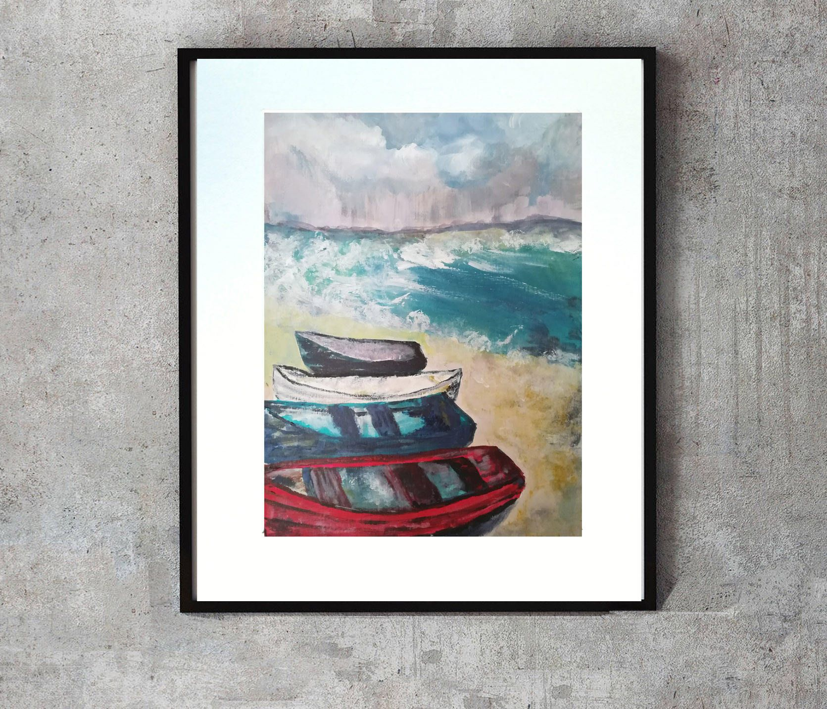 Boats beach painting navy pink wall art stormy day ocean art