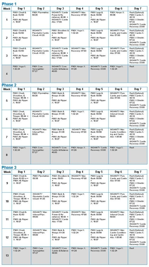 PX And Insanity Hybrid Workout Schedule HealthAndFitness
