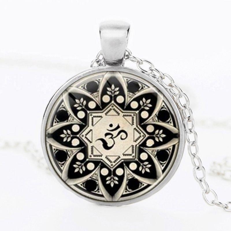 Suteyi Unique Mandala Lotus Necklaces Pendants Charm Cabochon