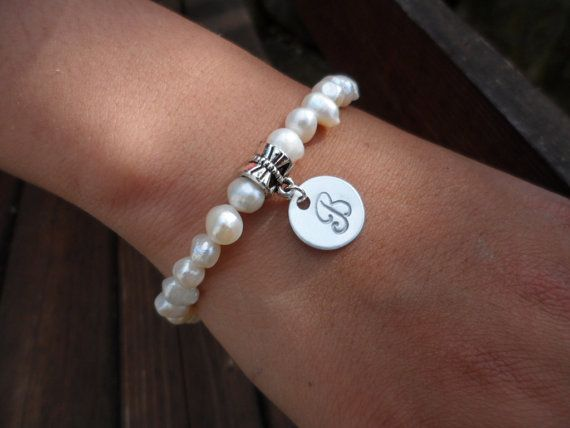 Bridal Gift Pearl Bracelet with Silver Initial di DaniJessBoutique, $12.00