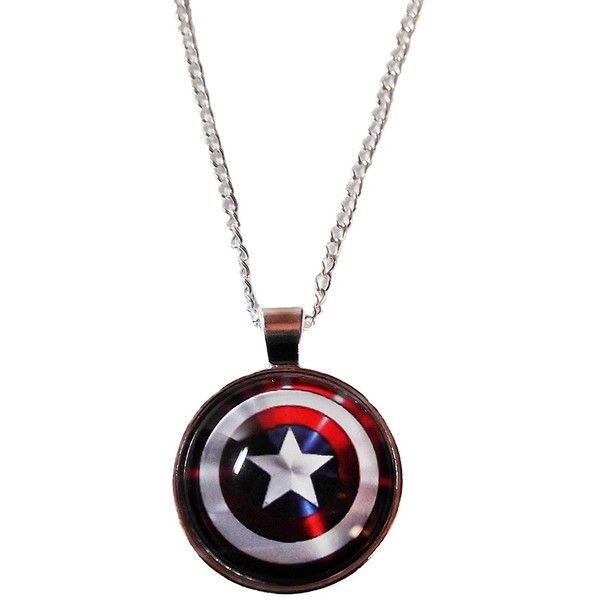 """Marvel Comics CAPTAIN AMERICA Logo Shield Glass Dome PENDANT on 20""""... ($11) ❤ liked on Polyvore featuring jewelry, pendants, glass dome jewelry, charm pendant, logo jewelry, glass dome pendant and chains jewelry"""