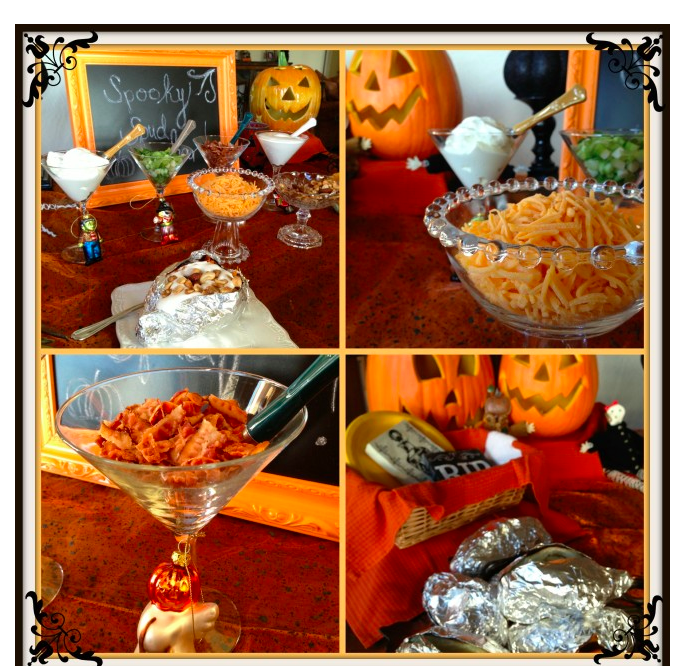 http://cashmereapron.com/halloween-spooky-spuds-bar/ What to serve on Halloween night??? Easily feed a group of friends with our Spooky Spuds Bar. Prepare in advance - lots of variety - something for everyone. You can't go wrong.